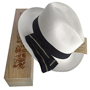 Panama Hat Cuenca Fedora + Wood Box + Band