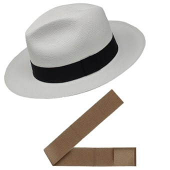 Chapeau Panama Break + Ruban Standard - Marron Clair