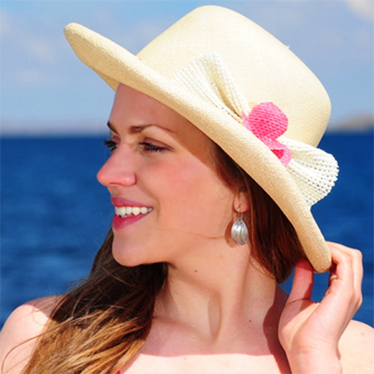 Panama Hat for Women - Natural - Decorated