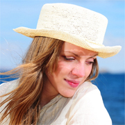 Crochet Panama Hat with straw band for women