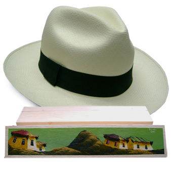 d74fd4a4 Panama Hat Montecristi (7-8) + Hat raft wood box painted by hand 1 -