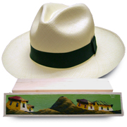 Panama Hat Montecristi (11-12) + Raft Wood Hat Box - Handpainted 1