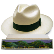 Panama Hat Montecristi (11-12) + Raft Wood Hat Box - Hand Painted 2