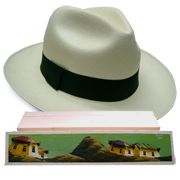 Panama Hat Montecristi (13-14) + Raft Wood Hat Box - Hand Painted 1
