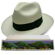 Panama Hat Montecristi (13-14) + Raft Wood Box - Hand Painted 2