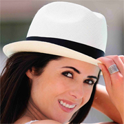 Panama Hat White Borsalino Gamboa Classic for Women