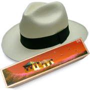 Panama Hat Montecristi (11-12) + Raft Wood Box- Hand Painted 3