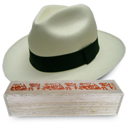 Panama Hat Montecristi (11-12) + Raft Wood Box Hand Painted 4
