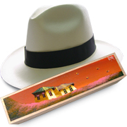 Panama Hat Montecristi (9-10) + Raft Wood Box - Hand Painted 3