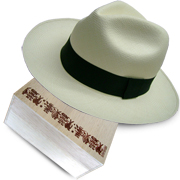 Panama Hat Montecristi (13-14) + Luxury Raft Wood Box - Hand Painted 1