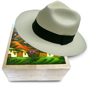 Panama Hat Montecristi (13-14) + Luxury Raft Wood Box - Hand Painted 2