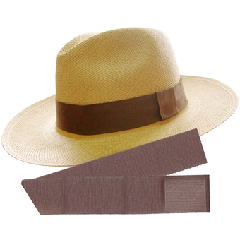 Panama Hat Cuenca (3-4) + Panama Standard Hat  Band - Dark Brown