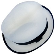 Bound Edge Panama Hat - Borsalino with White Rim (Grade 3-4)