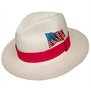 Panama Hat USA Flag - Red