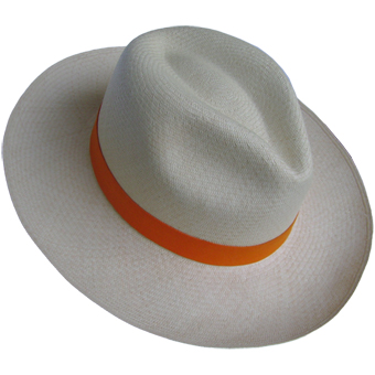 Panama Montecristi Hat - Fedora (Grade 11-12) with Elastic Band - Orange