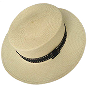 Panama Hat Boater - Backstitch White Band