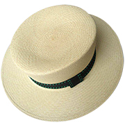 Panama Hat Boater - Backstitch Green Band