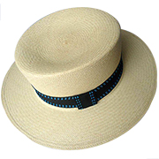 Panama Hat Boater - Backstitch Blue Band