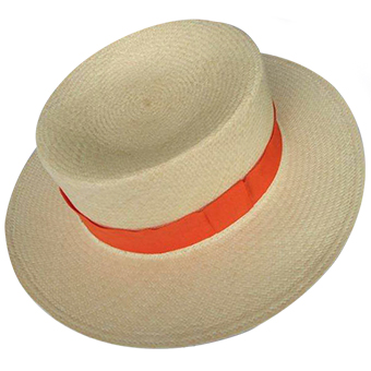 Panama Hat Boater - Orange Band